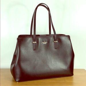 Kate Spade ♠️ Large Black Leather Laptop Tote Bag